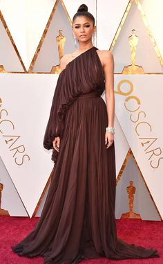 Zendaya from 2018 Oscars Red Carpet Fashion  In Giambattista Valli