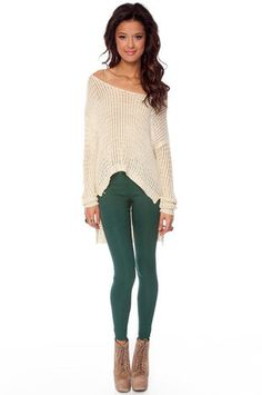 Denim Leggings in Forest Green $29 at www.tobi.com