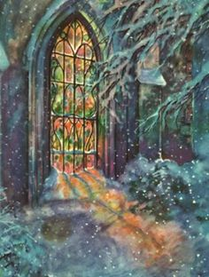Church stain glass window in winter