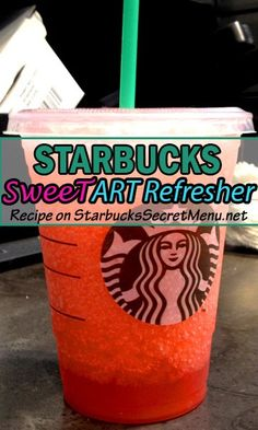 Starbucks Sweetart Refresher Sweetarts are one of our favorite throwback candies! We love this Starbucks Refresher version. Starbucks Latte, Starbucks Hacks, Starbucks Menu, Starbucks Refreshers, Starbucks Recipes, Coffee Recipes, Drink Recipes, Starbucks Calories, Starbucks Flavors