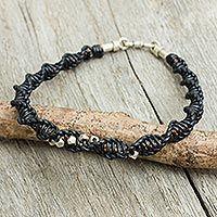 Men's leather and sterling silver bracelet, 'Modern Helix in Black'