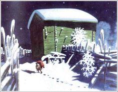 14) Midvinternattens köld är hård,  stjärnorna gnistra och glimma.  Alla sova i enslig gård  gott intill morgontimma.  Månen sänker sin tysta ban,  snön lyser vit på fur och gran,  snön lyser vit på taken.  Endast tomten är vaken.