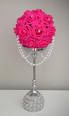 HOT PINK Flower Ball With Draping Pearls And Crystal Gems. Flower Ball Centerpiece, Pearl Centerpiece, Candle Centerpieces, Wedding Centerpieces, Wedding Decorations, Wedding Ideas, Quince Decorations, Centrepieces, Flower Girl Bouquet
