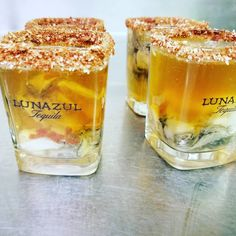 These are @lunazultequila Micheladas with fresh oyster courtesy of @zenzero_laparrilla_genovese Must try! #lunazultequila #zenzero_laparrilla_genovese  Double Tap  Me Gusta!
