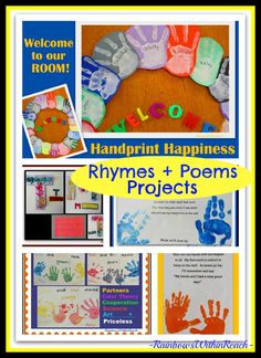 Handprint Poems, Rhymes and Art Projects ~ Great Ideas for children's artwork and creativity ♥ (The Great Handprint RoundUP via RainbowsWithinRreach)