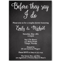 chalkboard couples shower invitations bridal wedding coed coed
