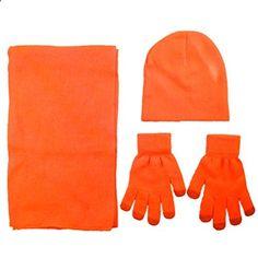 Simplicity Men Women Beanie Scarf and Gloves Knit Set, 6174_Orange. More description on the website.