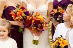Loving these fall colors! #fall #autumn #weddingbouquet  Purple and Orange New England Fall Wedding @Heart Love Weddings
