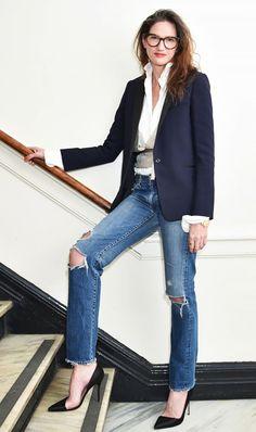 Boyfriend Jeans and Blazer // Sloane Ranger Style #fallfashion #ootd