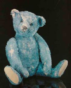 For the Love of Toys // This is a rare blue antique Steiff called Elliot. He was one of the first bears to sell at a high price at auction. He is a prototype and at the time he was made was the only blue ted.