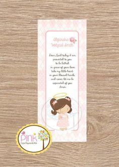 Baptism Favor Cards /Bookmark/ Baptism Angel by PinkCajasyTarjetas