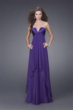 Cool Purple Empire Wasit Chiffon Satin Column Floor Length Evening Dress