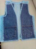 Kot değerlendirmesi - So Tutorial and Ideas Crochet Fabric, Diy Crochet, Crochet Top, Crochet Patterns, Jean Diy, Denim Ideas, Crochet Jacket, Old Jeans, Crochet Clothes