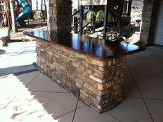 Outdoor Bar Island with Concrete Countertop