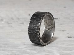 Men's Ring Wide Band - Sterling Silver Rustic Wedding Band Hammered Dark Silver Oxidized - Badass Minimalist Rugged Masculine Textured Tree by HAMMERHEADdesigns on Etsy https://www.etsy.com/listing/261813155/mens-ring-wide-band-sterling-silver