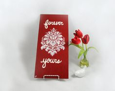 Love Quote Art Wood Panel Painting  Forever by SilverBirdBoutique #red #handmade #love #romantic #wedding #bridal #decor #weddingdecor #wallart