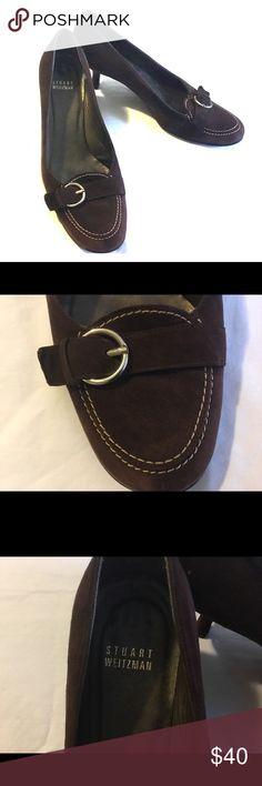 """Stuart Weitzman 7.5 Dark Brown Suede heel shoes Pre owned  excellent condition 100% Authentic Stuart Weitzman a 2,5"""" heel very comfortable Shoes Heels"""