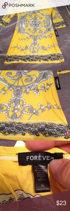Bright yellow and black print dress Bright yellow and black print dress. New with tag!  Size Xl. 3/4 length sleeves. Perfect addition for any closet!! forever Dresses