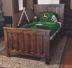 rustic wood farmhouse style bed potterybarnkids camp style twin boys room john deer how to build free plans ANA-WHITE.com