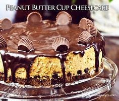 Rich, creamy peanut butter cheesecake sits on top of a delicious chocolate crust, drizzled with warm chocolate ganache and overloaded with peanut butter chocolate candies. Can you OD on dessert? Köstliche Desserts, Frozen Desserts, Delicious Desserts, Dessert Recipes, Yummy Food, Peanut Butter Cup Pie Recipe, Chocolate Peanut Butter Cheesecake, Chocolate Ganache, Chocolate Candies