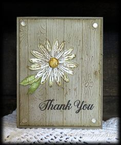 handmade thank you card: International Gratitude Plank Style from Wild West Paper Arts ... look of weathered wood using embossing folder and whitewash ... daisy embedded with the embossing folder texture and looks as if it was painted on ... great clean and simple look ... Stampin' Up!