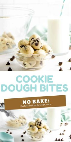 These easy no bake Cookie Dough Bites are made with a few simple ingredients! They are rolled into balls, eaten with a spoon or can be frozen! | The Bitter Side of Sweet