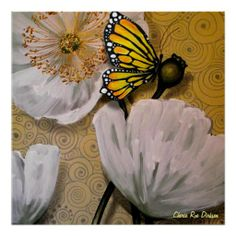 Yellow Butterfly on White Poppy, by Cherie R. Dirksen -- http://www.zazzle.com/yellow_butterfly_on_white_poppy_posters-228705277726081459
