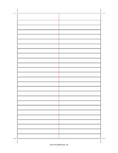 Gregg-ruled shorthand paper with 11/32 inch line spacing and a red rule down the center. Perfect for note-taking. We have the same paper with blue lines, too. Free to download and print