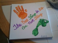 Canvas and finger paint. Great way to preserve a memory and also an awesome personal gift idea. Have the kids sign the bottom <3