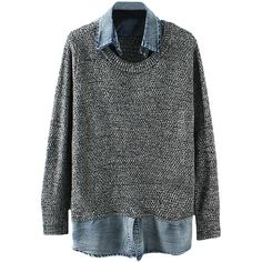 Turn-down-collar Denim-seamed Md-long Sweater (52 CAD) ❤ liked on Polyvore featuring tops, sweaters, shirts, jumpers, collar top, denim sweater, denim collared shirt, shirts & tops and collared shirt