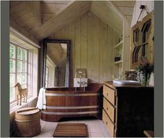 Finnish designer Ristomatti Ratia's cottage on Saaremaa, the largest island in Estonia. Featured in Phyllis Richardson and Solvi Dos Santos' book, Contemporary Natural. Tranquil Bathroom, Sauna, Classical Architecture, Baseboards, Frames On Wall, Hearth, Building Design, My House, Interior Decorating