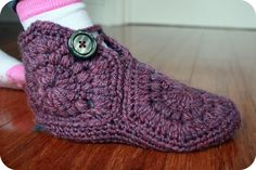 Free Crochet Slipper Sock Patterns | had to add a chunky funky button as they were a bit wide around the ...