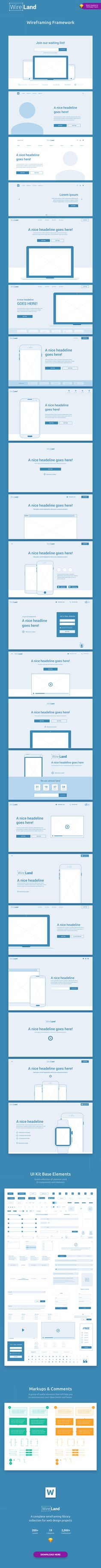 Wireland – is a Complete Wireframing Library Collection optimized to structure web design projects really fast and easy while getting great results. This library consist on 200+ ready-to-use layout sections divided into 19 popular content categories.  Excellent for Landing Pages, and any kind of Web design Projects.   Include layouts on: Testimonials, Ecommerce, Blog, Slider, Portfolio, Header, Price Table, Features, Benefits, How it works, Footer, Value proposition, hero section, etc.