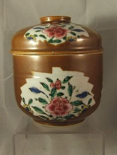 Chinese famille rose batavian ware porcelain pot & cover  C18th