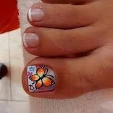 Resultado de imagen para deko uñas para pies Cute Pedicure Designs, Toe Nail Designs, Cute Toe Nails, Cute Nail Art, Painted Toe Nails, Pretty Pedicures, Faded Nails, Butterfly Nail Art, Pedicure Nail Art
