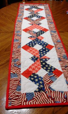 Memorial Day, 4th of July/Any patriotic holiday quilted table runner by ShirleyCQuilts on Etsy