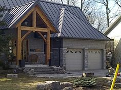 Visit this gallery to see some of the projects we have done with Metal Sheet roofing - available in a colour, finish and style to suit any Ontario home. Grey Siding, Metal Siding, Metal Roofing Sheets, Metal Roof Houses, Metal Buildings, House With Metal Roof, House Siding, House Roof, House Shutters