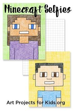 Minecraft Selfies - Art Projects for Kids. Add a little math and pop culture to your kid's art. #minecraft