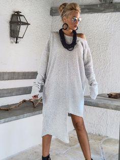 Winter Warm Wool Boucle Dress Tunic / Asymmetric Plus Size