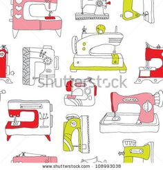 Seamless Vintage Sewing Machine Do It Yourself Background Pattern In Vector - 108993038 : Shutterstock