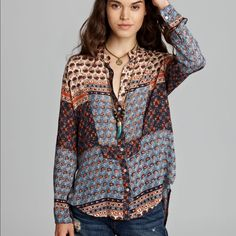 Free People Multi Colored Caravan Top Free People Multi Colored Caravan Top Size: Small Fabric: 100% Rayon Free People Tops Button Down Shirts
