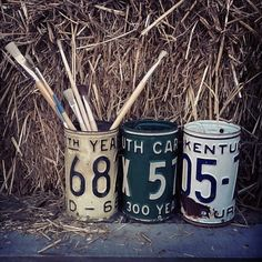 Vintage license plate 'cups' by Stress the Seams