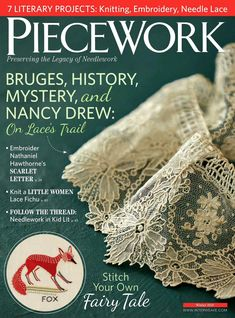 The inspiration for the projects and articles in this issue are stitched together from contemporary and classic literature, the pages of early nineteenth- and twentieth-century needlework periodicals, and the fiber-loving heroines of Greek mythology. Embroidery Needles, Embroidery Patterns, Hand Embroidery, Family Planner, Simply Crochet, Lace Heart, Knitting Magazine, Book And Magazine, Crochet Books