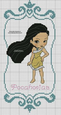Disney Cross Stitch Patterns, Modern Cross Stitch Patterns, Cross Stitch Designs, Cross Stitch Baby, Cross Stitch Alphabet, Cross Stitch Charts, Cross Stitching, Cross Stitch Embroidery, Pocahontas