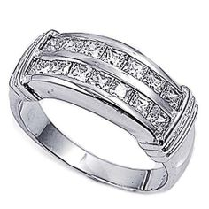 Rhodium Plated Sterling Silver Wedding & Engagement Ring Clear CZ Two Rows Channel Set Ring 9MM ( Size 6 to 10) Double Accent. $35.99