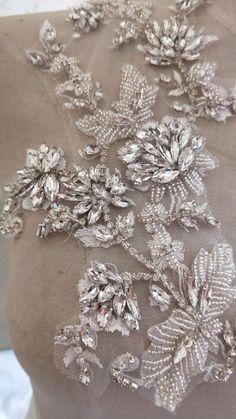 3 Colors Fabulous Full Rhinestone Crystal Applique Pair For Bridal Accessories Wedding Dress Sash Haute Couture Costume Embellishment Wedding Embroidery, Couture Embroidery, Embroidery Motifs, Beaded Embroidery, Embroidery Designs, Elan Bridal, Couture Beading, Embroidery On Clothes, Wedding Dress Accessories