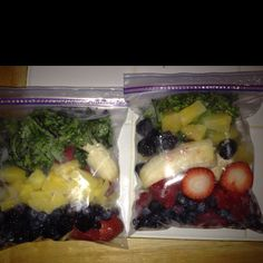 Smoothie bags ready for the freezer: strawberries, raspberries, blueberries, banana, pineapple and kale