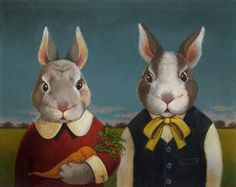 Bunny Rabbit Couple Portrait by CuriousPortraits on Etsy, $20.00