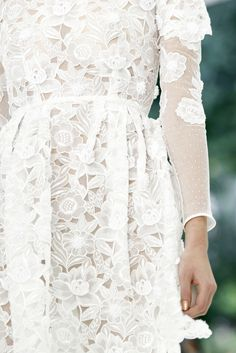 Embroidered dimensional organza lace dress.