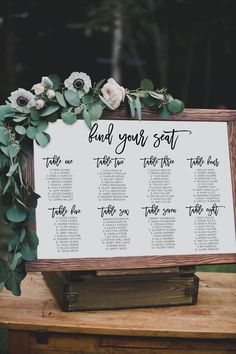 Backyard wedding signs seating charts 17 ideas for 2019 Seating Chart Wedding, Wedding Table Numbers, Wedding Seating Display, Wedding Table Cards, Rustic Seating Charts, Seating Arrangement Wedding, Reception Seating Chart, Wedding Events, Our Wedding